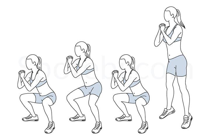 Bài tập ngồi xổm bật nhảy giúp giảm mỡ vòng 2 cực tốt