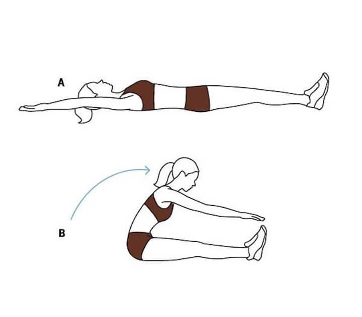Làm nóng cơ bụng bằng động tác khởi động cơ bản