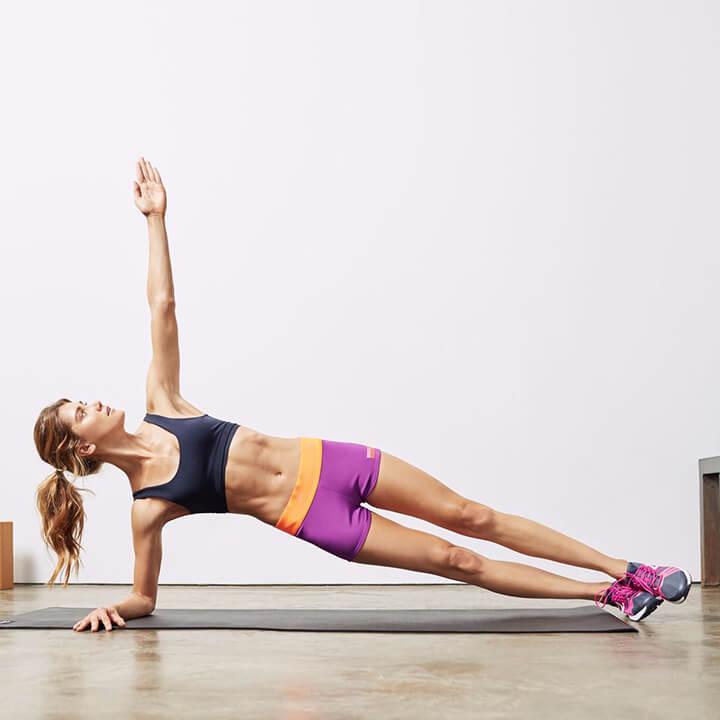 Plank nghiêng hỗ trợ làm săn chắc cơ bụng