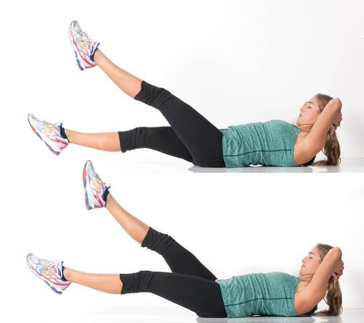 Nâng chân lên cao. Là một trong những bài tập tốt nhất giúp giảm mỡ bụng vùng bụng dưới
