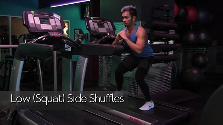 Bài tập Low (Squat) Side Shuffles với máy chạy bộ