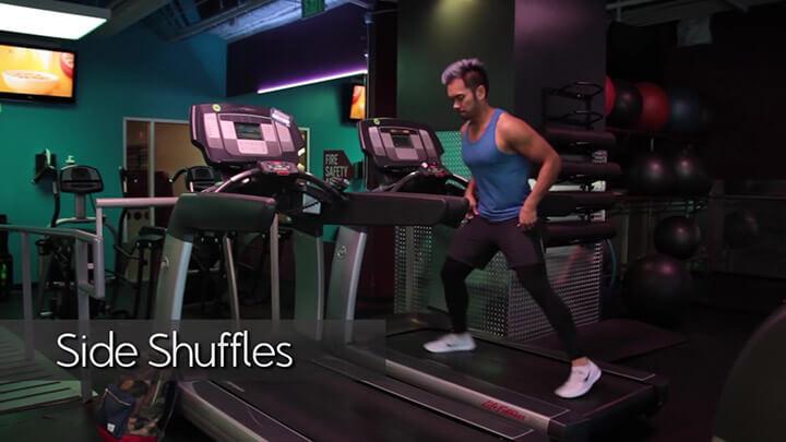 Bài tập Side Shuffles với máy chạy bộ