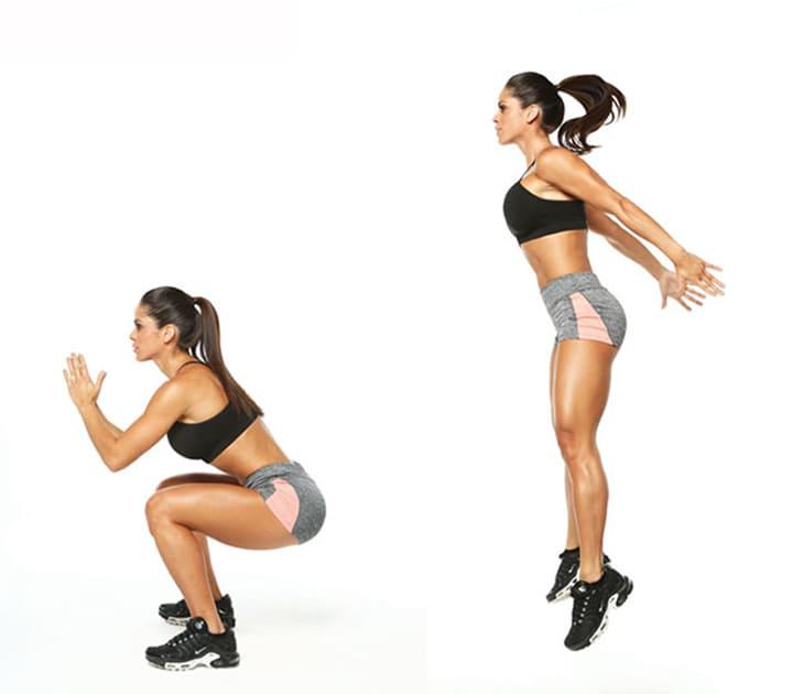 Động tác kết hợp squat và bật nhảy tại chỗ mang đến hiệu quả cao hơn