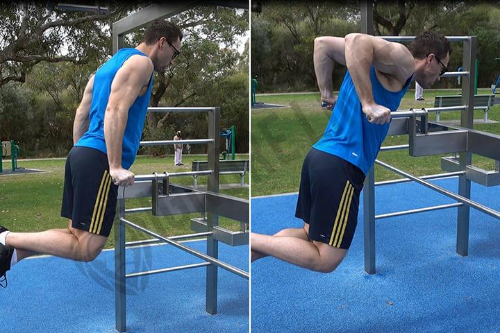 Bài tập ngực dưới trên xà kép Chest Dips giúp thúc đẩy hai bắp vai và ngực