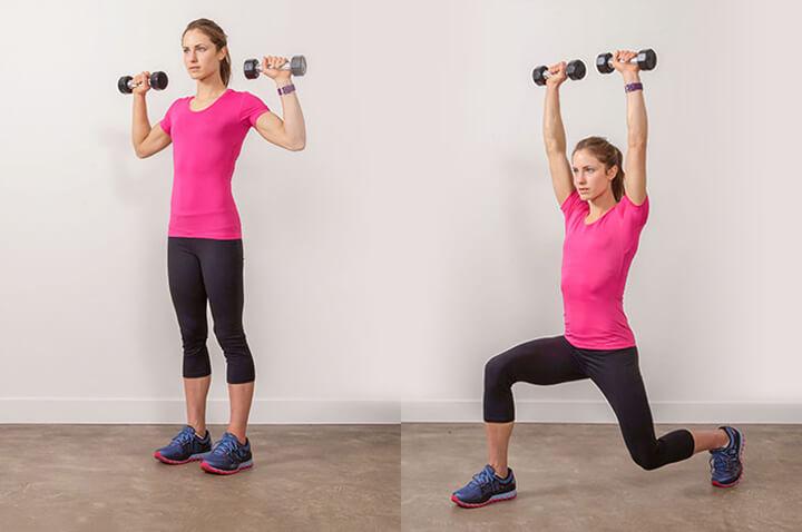 Chùng chân kết hợp đẩy tạ qua đầu Lunging Shoulder Press