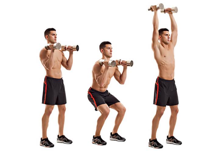 Dumbbell Push Press là bài tập vai cho nam được nhiều người tập chọn lựa để tăng cơ vai