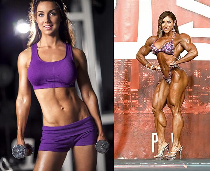Thân hình Fitness (Trái) và Bodybuilding (Phải).
