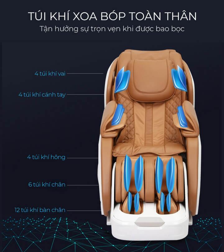 Ghế có hệ thống túi khí lớn giúp massage được nhiều hơn trên cơ thể.