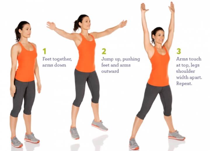 Nếu bạn băn khoăn làm thế nào để giảm mỡ đùi thì hãy thường xuyên tập bài Jumping Jacks nhé