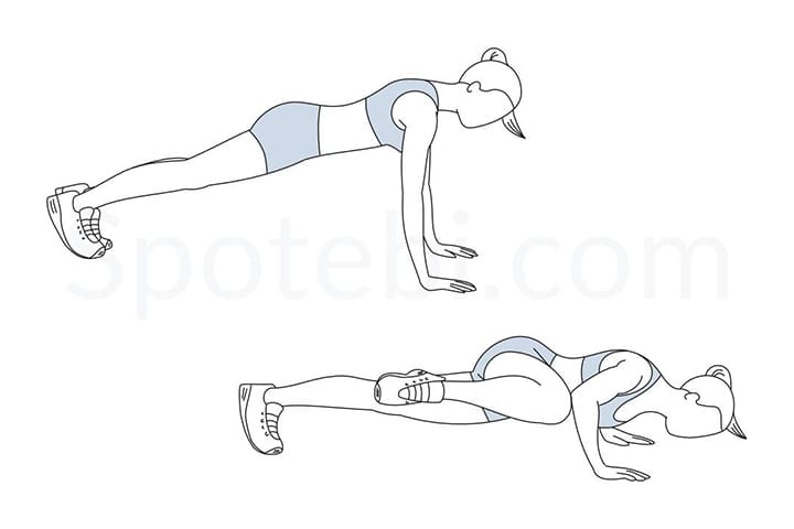 Động tác tập luyện này là một biến thể từ hít đất liên quan đến phần chân của bạn