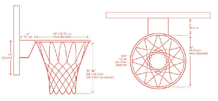 Kích thước rổ bóng rổ tiêu chuẩn