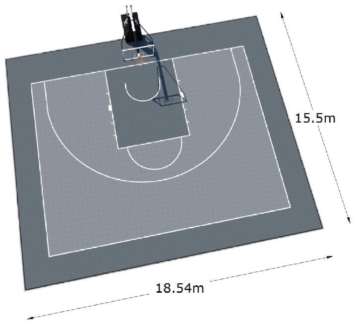 Kích thước sân bóng rổ 3x3 tiêu chuẩn