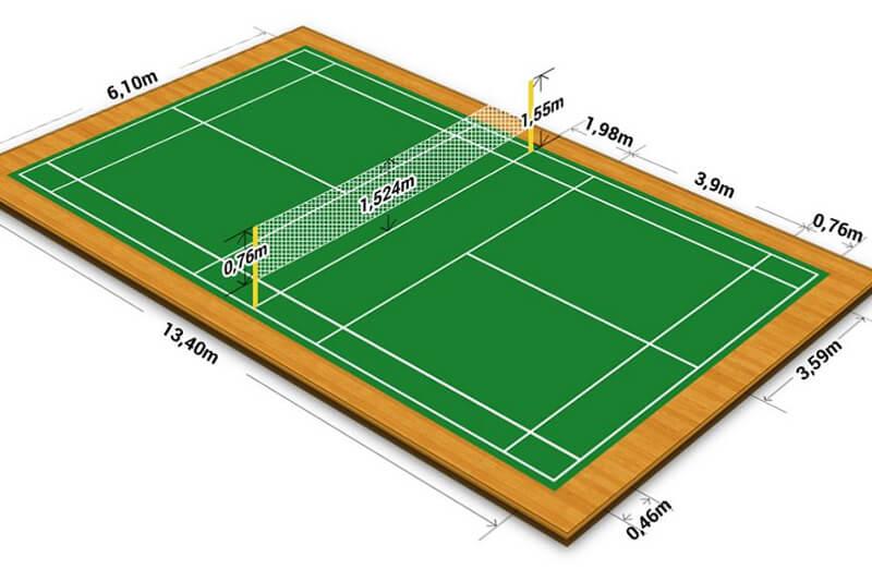 Kích thước sân cầu lông chuẩn đánh đơn, đánh đôi là bao nhiêu?