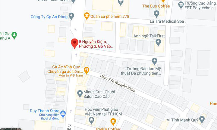 Bản đồ chỉ đường đến showroom Oreni Gò Vấp