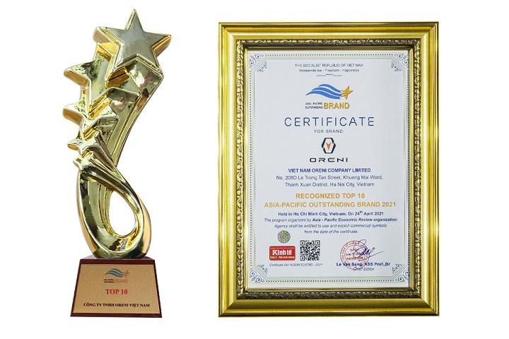 Oreni được vinh danh Top 10 Thương hiệu tiêu biểu Châu Á - Thái Bình Dương 2021