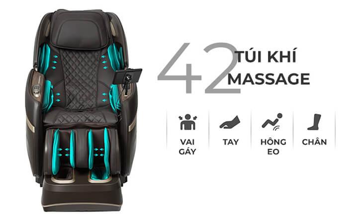 Túi khí phụ trách việc massage với cơ chế bóp nhả nhịp nhàng, phân bổ khắp cơ thể