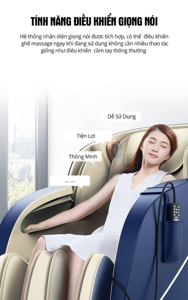 Tính năng điều khiển bằng giọng nói là cách điều khiển thông minh của ghế massage