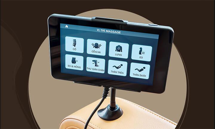 Ghế massage cao cấp sử dụng bảng điều khiển cảm ứng hiện đại