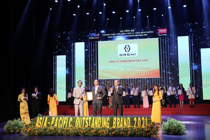 oreni nhận giải thưởng top 10 thương hiệu tiêu biểu châu á thái bình dương 2021