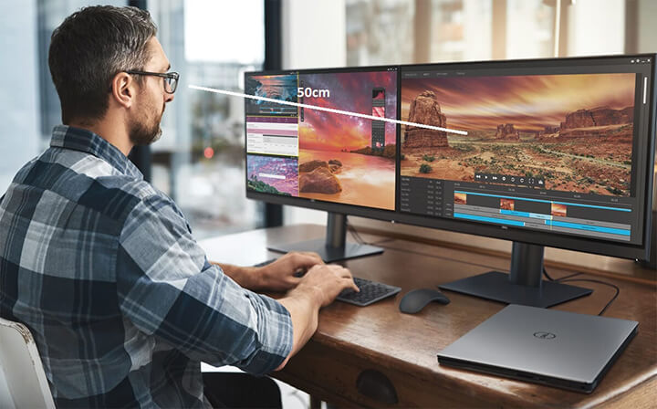 Chú ý giữ khoảng cách giữa mắt nhìn tới màn hình máy tính