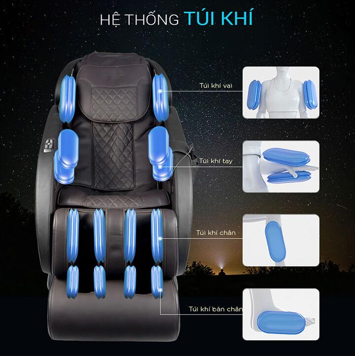 Hệ thống túi khí được bố trí trải đều khắp thân ghế massage