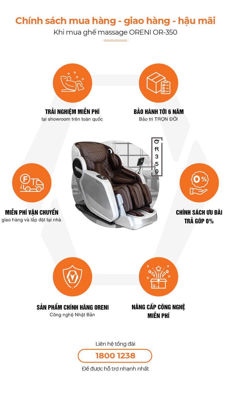 chính sách hậu mãi khi mua ghế massage oreni or-350