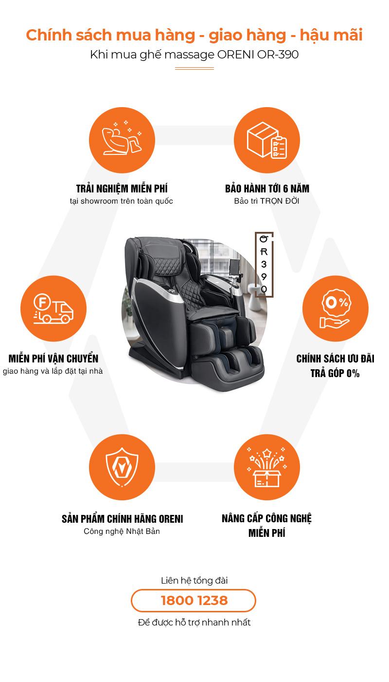 chính sách hậu mãi khi mua ghế massage oreni or-390