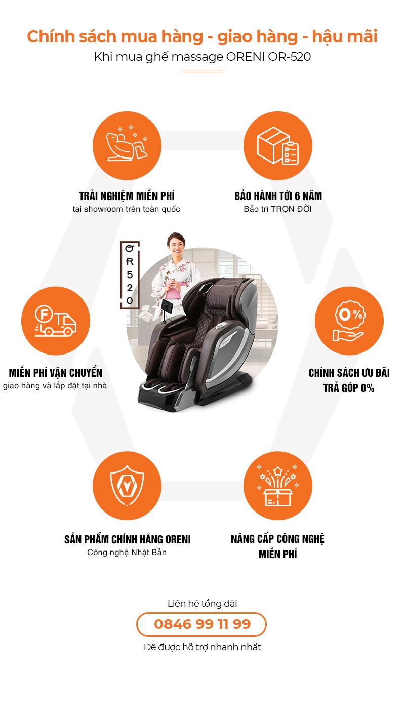 chính sách hậu mãi ghế massage oreni or-520
