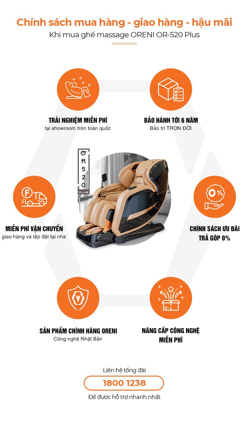 chính sách hậu mãi ghế massage oreni or-520plus
