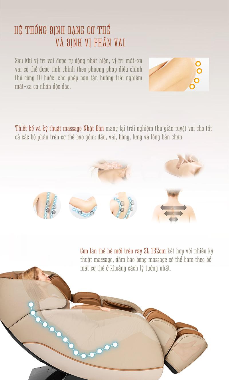 ghế massage oreni or-180 sử dụng đường ray sl siêu dài