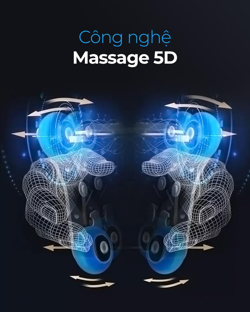 công nghệ massage con lăn 5D của ghế massage Oreni OR-700
