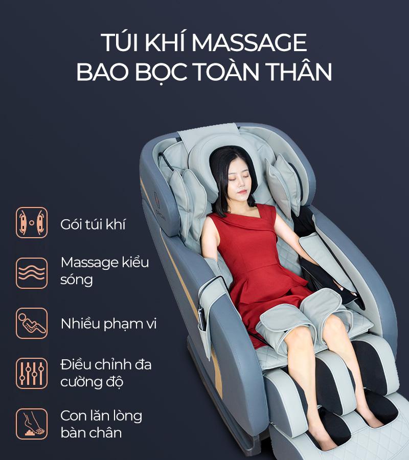 Hệ thống túi khí massage trải đều toàn thân