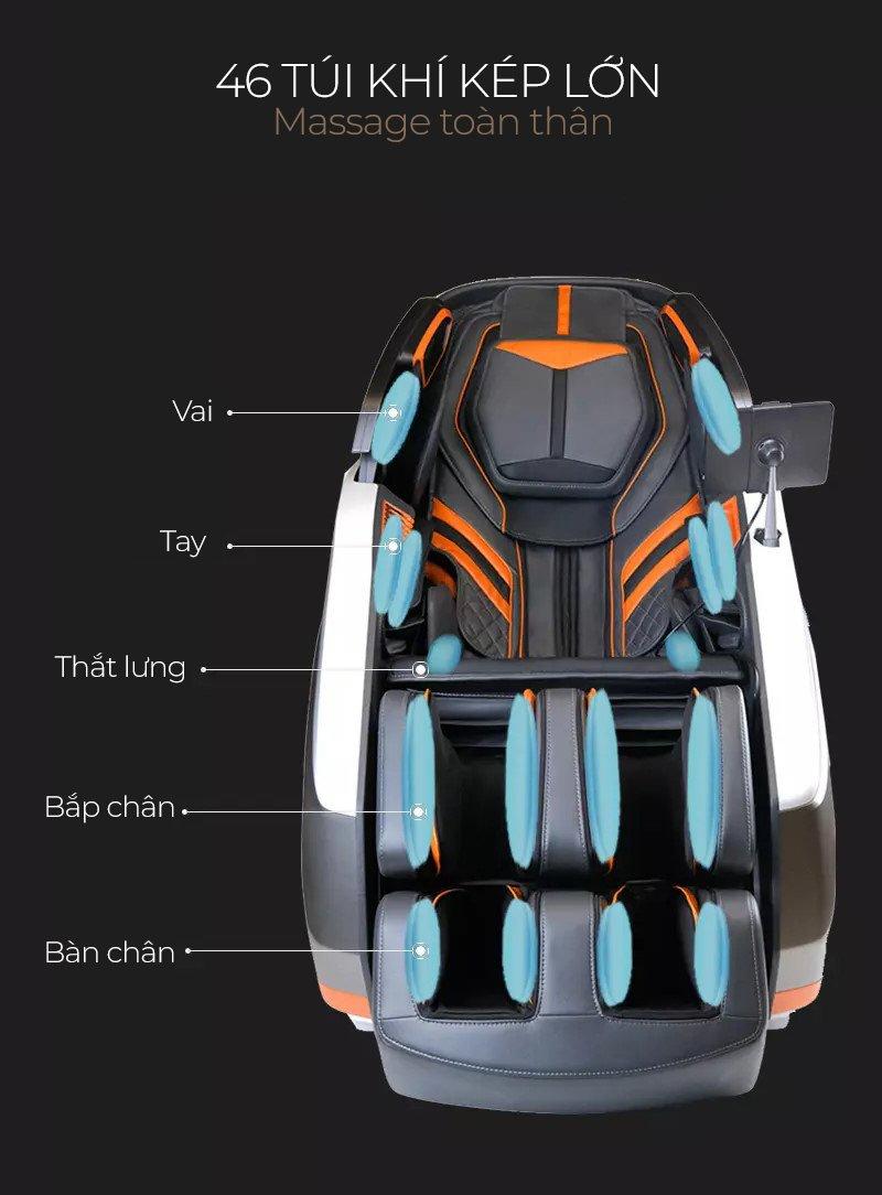 hệ thống túi khí của ghế massage oreni or-700