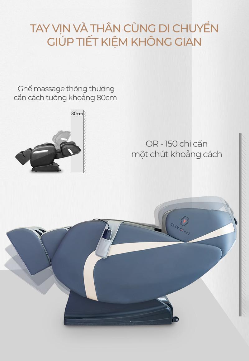 thiết kế ghế massage oreni or-150 tối ưu diện tích với tính năng lùi tường